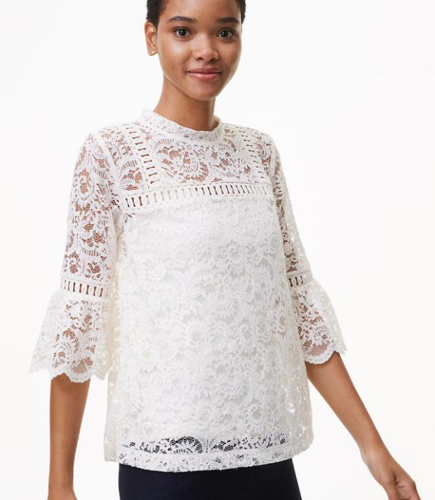 Scroll Lace Mockneck Top
